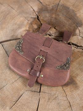 Besace  de ceinture médiévale avec ornements, en marron