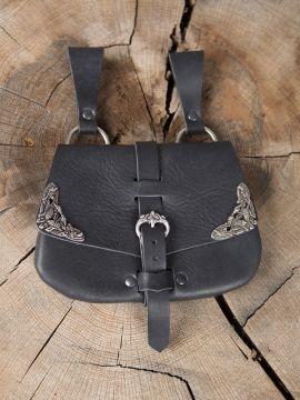 Besace de ceinture médiévale avec ornements, en noire