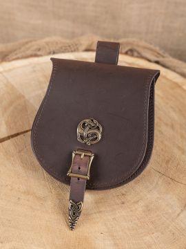 "Pochette de ceinture viking, motif  ""dragon"" en marron"