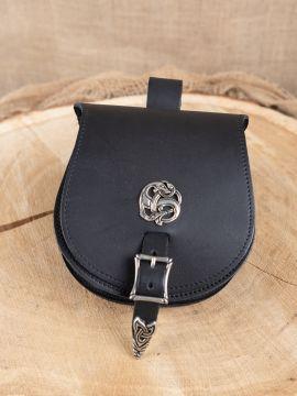 "Pochette de ceinture viking, motif  ""dragon"" en noir"