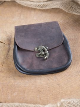 Pochette de ceinture fermoir à crochet, en marron