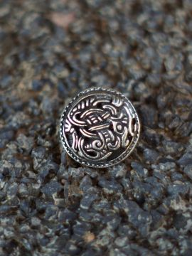 Bouton Viking motif griffon, couleur argent à l'unité