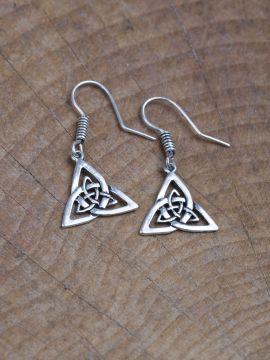 Boucles d'oreilles noeud celtique en bronze plaqué argent