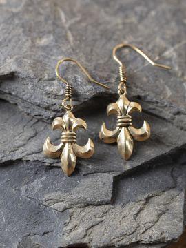 boucles d'oreille fleur de lys en bronze