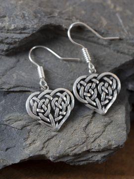 Boucles d'oreilles coeur celtique argentées