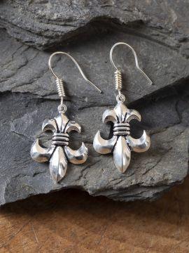 Boucle d'oreille fleur de lys en bronze argenté