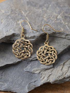 Boucles d'oreilles noeud celtique couleur bronze