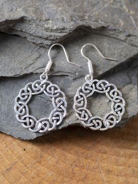 Boucles d'oreilles couronne celtique argentées