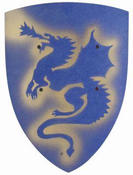 Bouclier médiéval en bois dragon bleu