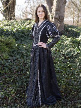 Robe médiévale Tudor en noir S