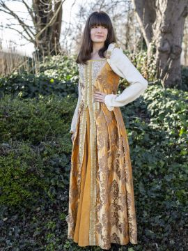 Robe médiévale Elisabeth Tudor ambre M