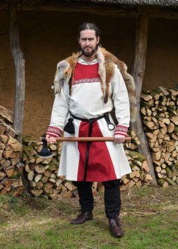 Tunique Viking avec broderies, en écru/rouge