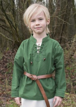 Chemise médiévale pour enfant, en vert