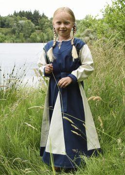 Robe Viking pour enfant, bleue/écrue