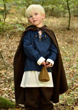 Cape médiévale pour enfant en coton marron