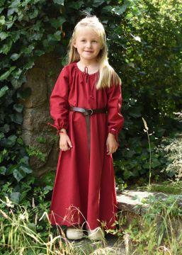 Robe médiévale Mara pour enfant en rouge