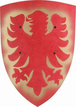 Bouclier médiéval en bois aigle rouge