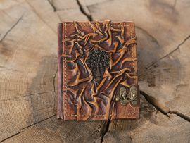 Petit Carnet en cuir, motif arbre