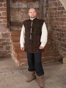 Veste en cuir chamoisé à boucles