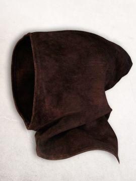 Capuchon en cuir suédé en marron