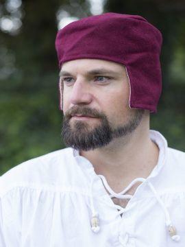 Bonnet médiéval en laine rouge