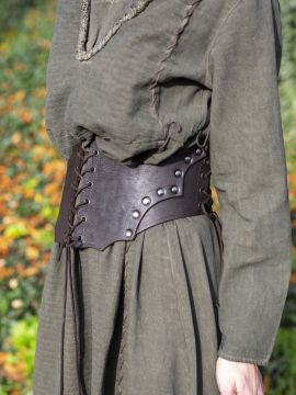 Corset large en cuir marron