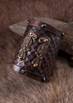 "Bracelet en cuir motif ""Hugin et Munin"""