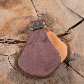 Petite bourse à monnaie en cuir bicolore marron-beige