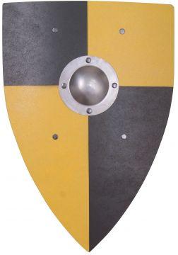Bouclier Normand en bois noir et jaune