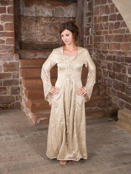 Robe médiévale à capuche et dentelle