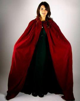 Cape à capuche en velours rouge