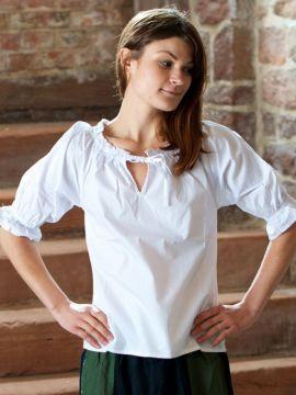 Blouse à manches courtes en blanc ou crème crème | M