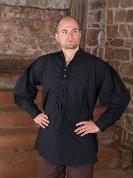 Chemise médiévale, boutons en bois, en noir