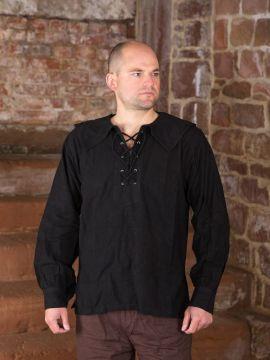 Chemise médiévale à col large, en noir schwarz