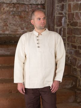 Chemise médiévale col droit et boutons en bois écru | L