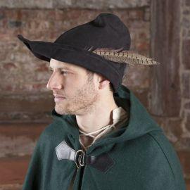 Chapeau médiéval en cuir Robin des bois en noir