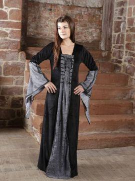 Robe médiévale ou gothique, anthracite et noire