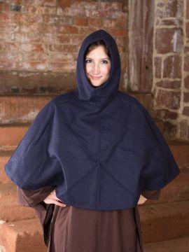 Capuchon en laine feutrée en bleu