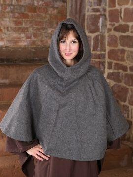 Capuchon en laine feutrée en gris