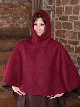 Capuchon en laine feutrée en rouge