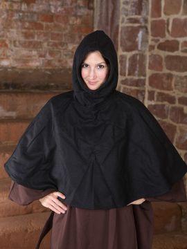 Capuchon en laine feutrée en noir