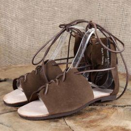 Sandales romaines en cuir chamoisé