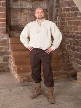 Pantalon médiéval en laine, marron