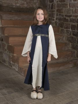 """Robe médiévale """"Piccolina"""" en bleu et écru 140/146"""