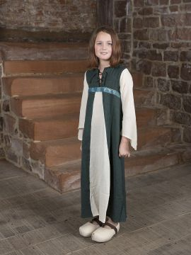 """Robe médiévale """"Piccolina"""" en vert et écru"""
