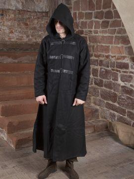 Manteau en laine à capuche noir