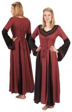 Robe médiévale bicolore avec broderie en noir et rouge