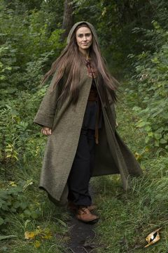 Grand manteau à capuche vert