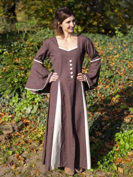 Robe médiévale avec boutons décoratifs, marron-écrue