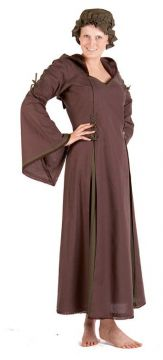 Robe médiévale à capuche en marron et vert olive